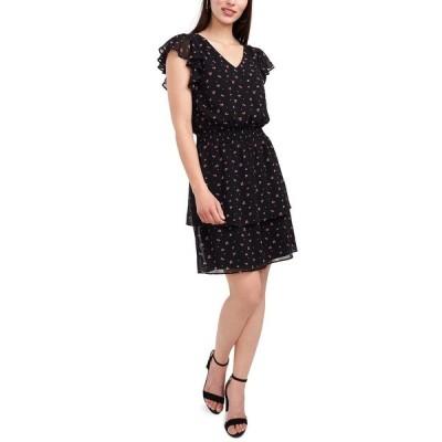 ミスク ワンピース トップス レディース Floral-Print V-Neck Flutter-Sleeve Smocked-Waist Dress Rich Black