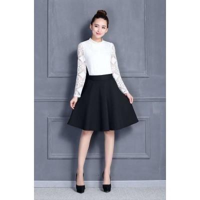スカート フレアスカート 膝丈 ドレス フレアースカート ミモレ丈 フレアスカート大きいサイズ 無地 黒