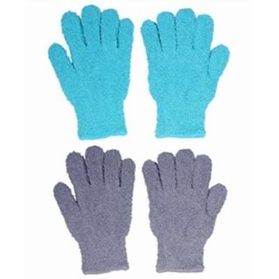 汚れをかき取る ふわふわ マイクロファイバー お掃除 手袋 おそうじ手袋 手袋タオル 掃除用品 男・女・子供兼用 2色セット グレー ブル