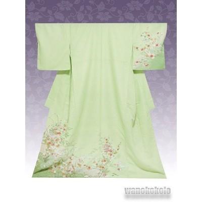 洗える着物 国産袷附下 フリーサイズ 黄緑系/色紙・草花柄 KTK-142