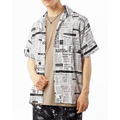 【トップイズム】 レーヨン素材半袖アロハシャツ メンズ ホワイト系7 L TopIsm