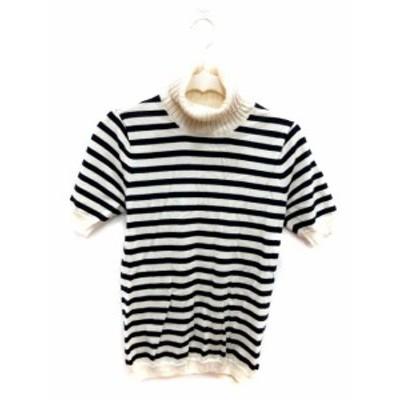 【中古】マカフィー トゥモローランド ニット セーター 半袖 タートルネック ボーダー ウール 1 黒 ブラック 白 ホワイト