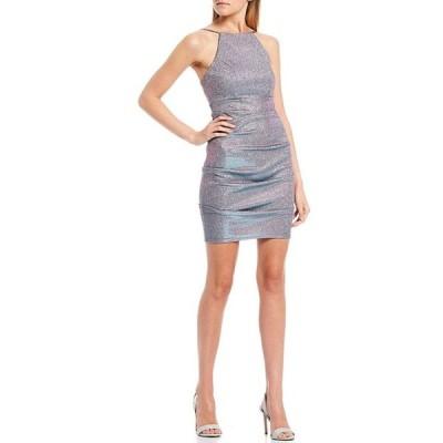 ジャンプ レディース ワンピース トップス High Neck Sleevless Metallic Shimmer Dress