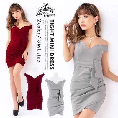 キャバ ドレス キャバドレス ワンピース 大きいサイズ ウエストリボン ワンカラー オフショル タイト ミニドレス S M L グレー 赤 ラップ