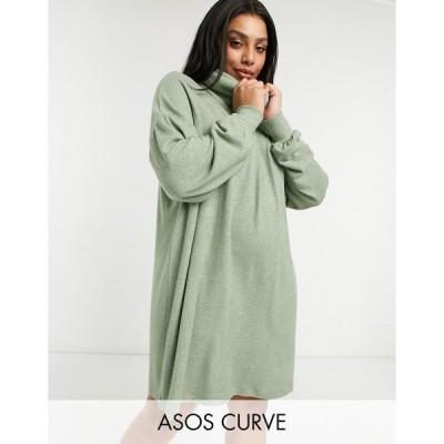 エイソス ドレス 大きいサイズ レディース ASOS DESIGN Curve super soft long sleeve roll neck mini dress in sage green marl エイソス ASOS グリーン 緑