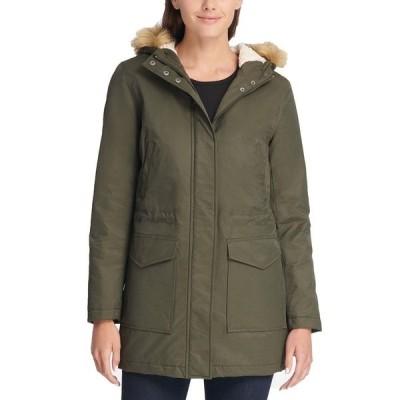 リーバイス コート アウター レディース Trendy Plus Size Faux-Fur-Trim Parka Army Green
