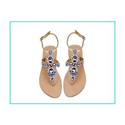 ZhuLinFeng Women's Rhinestone Gladiator Sandals Flat Wedding Sandals Gem Pearl Sparkling Bridal Bridesmaid Sandals Blue Bohemian Sandals Size 8【並