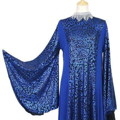 カラオケ衣装 ラインストーンネックレス付き ニット着物袖風ドレス 青