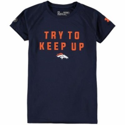 Under Armour アンダー アーマー スポーツ用品  Under Armour Denver Broncos Girls Navy Try To Keep Up Tech T-Shirt