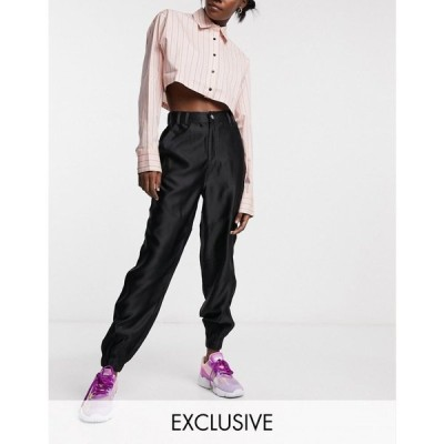 コルージョン Collusion レディース ジョガーパンツ ボトムス・パンツ COLLUSION satin trousers in black ブラック