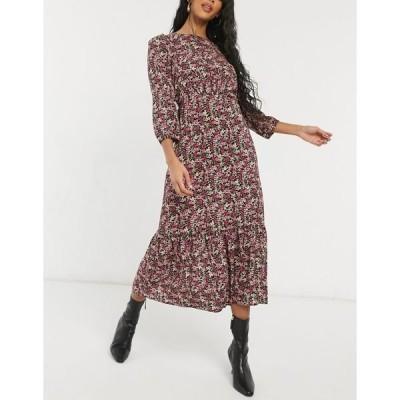 ニュールック レディース ワンピース トップス New Look floral midi dress in mixed playful floral Black pattern