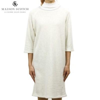 メゾンスコッチ MAISON SCOTCH 正規販売店 レディース スウェット素材 ワンピース SUPER SOFT SWEAT DRESS WOVEN COLLAR 144097 0G 53826