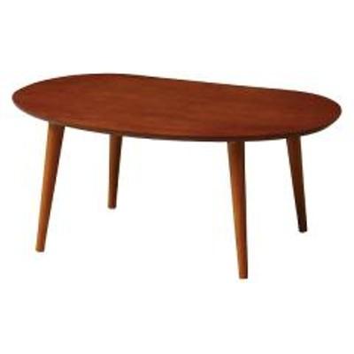 テーブル ローテーブル 幅75cm オーバル型天板 ブラウン (  カフェテーブル コーヒーテーブル 木製 サイドテーブル サブテーブル 机 木製テーブル 座卓 センターテーブル ソファサイド ミニテーブル ナイトテーブル )