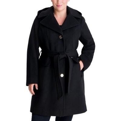 マイケルコース コート アウター レディース Plus Size Belted Hooded Wrap Coat Black