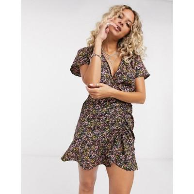 オンリー ミディドレス レディース Only mini dress with ruched front in floral print エイソス ASOS
