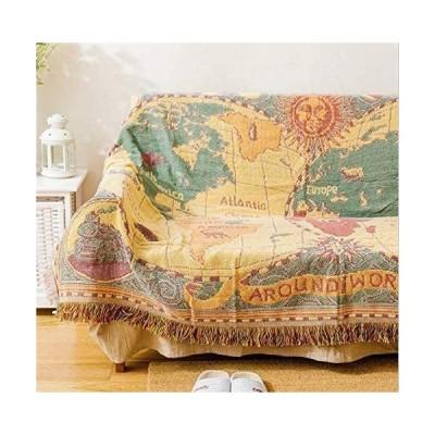 マルチカバー 北欧風 ソファカバー おしゃれ 多機能 ベッドカバー フリンジ付き ベッドカバー ラグ 毛布 (地図 130*180cm)