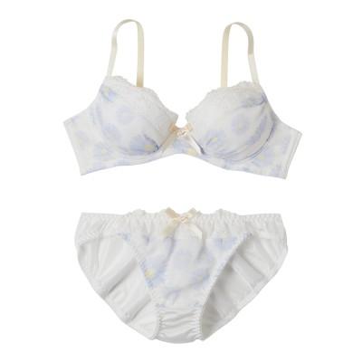 マーガレットプリントギャザー ノンワイヤーブラジャー・ショーツセット(L) (ブラジャー&ショーツセット)Bras & Panties