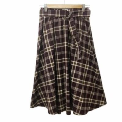 【中古】イング INGNI スカート フレア ギャザー ロング チェック ベルト付き M 茶 ベージュ ブラウン レディース
