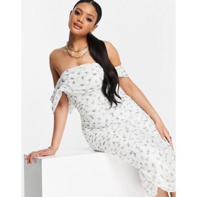 ミスガイデッド Missguided レディース ワンピース ミドル丈 ワンピース・ドレス mesh ruched bardot midi dress in white floral ホワイト