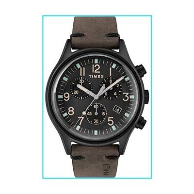 Timex Men's MK1 Steel Chronograph 42mm | Black Leather Strap | Watch TW2R96500【並行輸入品】