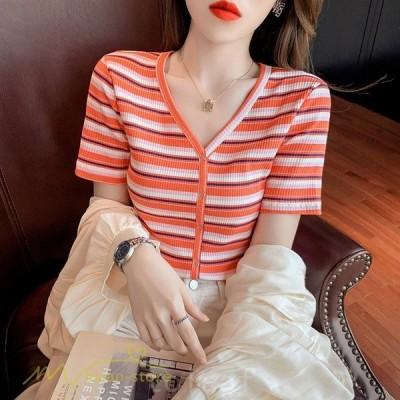 ニットレディース春夏新作トップスセーターTシャツVネック半袖ストライプ着回しきれいめ大きいサイズS〜XL着痩せゆったり女性着コーデ日常感