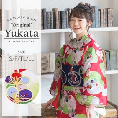 京都きもの町オリジナル 浴衣単品「赤色リンゴ」レトロ 女性浴衣 綿浴衣 花火大会、夏祭り、夏フェスにss2006ykl30