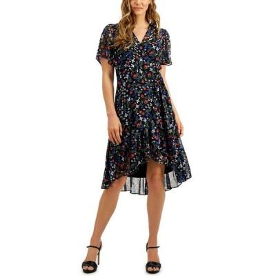 カルバンクライン ワンピース トップス レディース Petite Floral-Print Wrap-Style Dress Regatta Multi