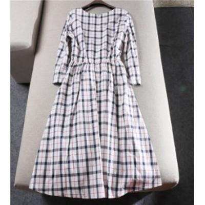 チェック Aライン ドレス ウエストリボン ワンピース パーティ レディース 二次会 きれいめ 結婚式 韓国  20代 30代 40代