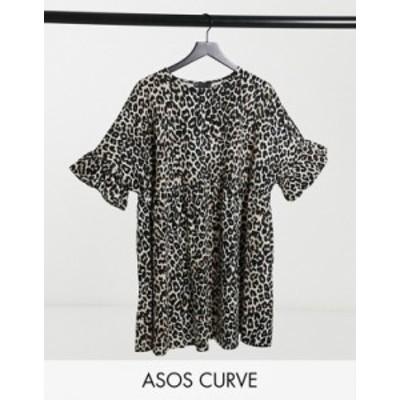 エイソス レディース ワンピース トップス ASOS DESIGN Curve super oversized ruffle sleeve smock in animal print Animal print