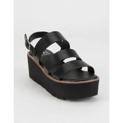 ダーティーランドリー DIRTY LAUNDRY レディース サンダル・ミュール シューズ・靴 Pendulum White Flatform Sandals BLACK