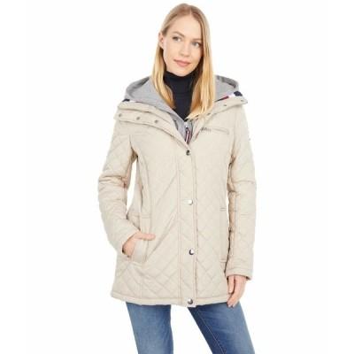 トミー ヒルフィガー コート アウター レディース Heritage Quilted Jacket w/ Detachable Fleece Hoodie Chino