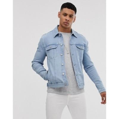 エイソス メンズ ジャケット・ブルゾン アウター ASOS DESIGN skinny western denim jacket in bleach wash