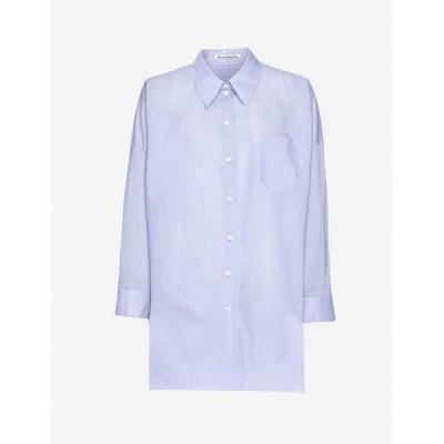 アクネ ストゥディオズ ACNE STUDIOS レディース ブラウス・シャツ トップス Oversized cotton-blend poplin shirt Powder Blue