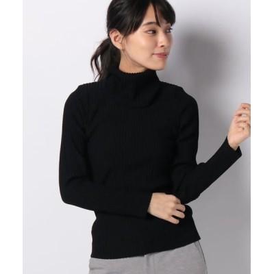 pierre cardin/ピエール ・カルダン リブ編みオフタートルセーター ブラック 40