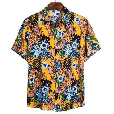 夏男性のシャツハワイ半袖シャツエスニック印刷トップスカジュアルコットンリネンブラウスストリートカミーサ