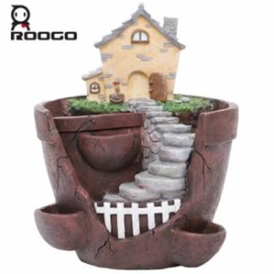 [Roogo]多肉植物プランター【天空のガーデン・三角屋根と煙突の家】植木鉢/プランター/ブロークンポット/サボテン/花/ガーデン/観葉植物/