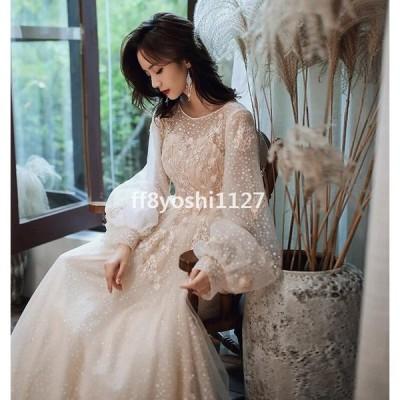 ロングドレス結婚式ドレス花嫁ドレスウェディングドレス二次会パーディードレスAラインワンピースレディースフォーマル演奏会発表会用ドレス