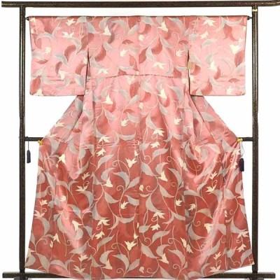 リサイクル着物 小紋 正絹ピンク地袷小紋着物