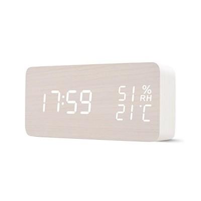 目覚まし時計 置き時計 Vhomu デジタル LED 時計 大音量 オシャレ 温度表示 湿度表示 カレンダー アラーム複数設定 音感センサー 3段階輝