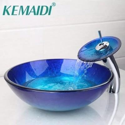 洗面ボウル 強化ガラス 洗面台 真鍮 蛇口 ポップアップ ドレイン付き バスルーム ウォッシュ キット ブルー シンクセット