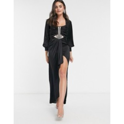 エイソス レディース ワンピース トップス ASOS DESIGN balloon sleeve midi dress with sheer corset detail and drape skirt Black