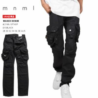 mnml カーゴパンツ メンズ  黒 28-38インチ 大きいサイズ ミニマル ロングパンツ 長ズボン かっこいい おしゃれ カーゴパンツ 無地 シン