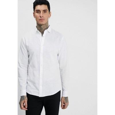 オンリーアンドサンズ シャツ メンズ トップス ONSCAIDEN LS SOLID LINEN SHIRT NOOS - Shirt - white