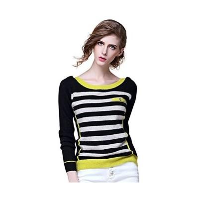 ?礼 Zhili Cashmere Women's Crew-Neck Sweater(Black&White&Yellow_L)並行輸入品 送料無料