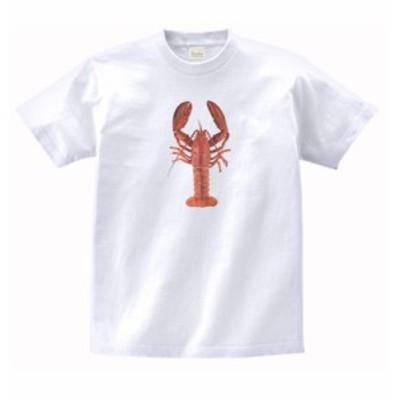 動物 生き物 Tシャツ ロブスター 白