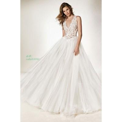 ウェディングドレス 結婚式 大きいサイズ パーティー 花嫁 ドレス 披露宴 ロングドレス ブライダル ふわふわスカート イブニングドレス 二次会 姫系