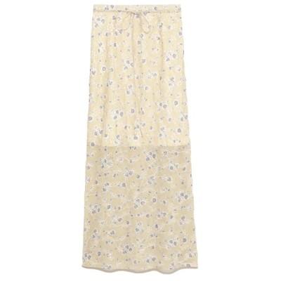【リリーブラウン】 刺繍花柄ロングスカート レディース ベージュ 1 Lily Brown