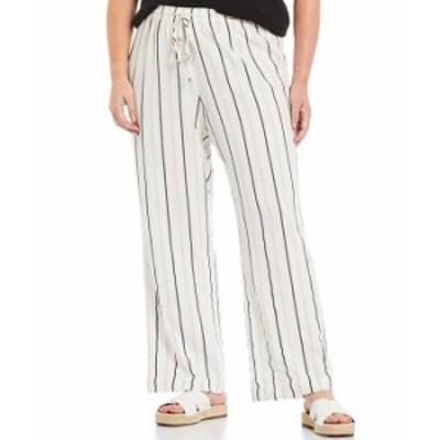 カルバンクライン レディース カジュアルパンツ ボトムス Plus Size Striped Rayon Wide Leg Drawstring Pants Soft White/Back