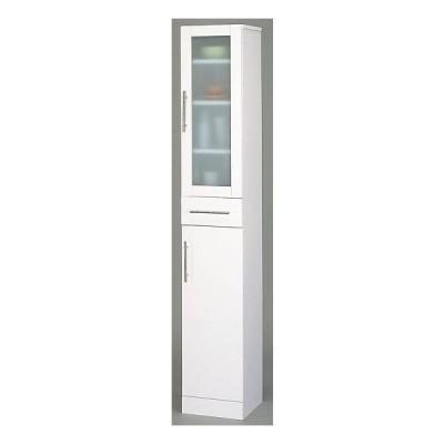 カトレア食器棚30-180 23462 シンプルモダン食器収納キッチン収納すきま収納ミストガラス扉付きキャビネットホワイト白