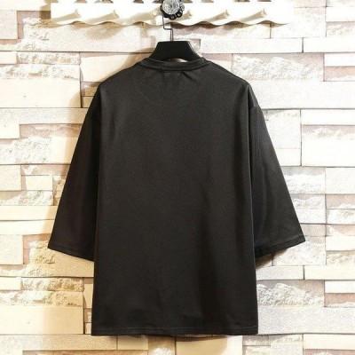 7分袖Tシャツ メンズ ゆったり Tシャツ メンズ 大きいサイズ トップス 七分袖 M L XL 2XL 3XL 4XL 5XL Tシャツ メンズ用 Tシャツ 男性用 人気 新品 夏 春 3色